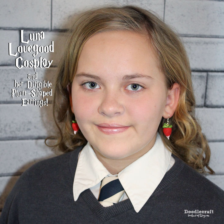 Handmade teen cosplay of Luna lovegood complete with dirigible plum earrings