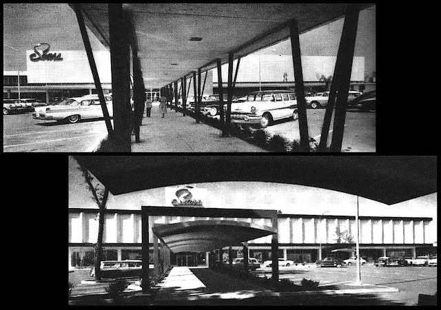 1958 shopping mall shade canopies photograph