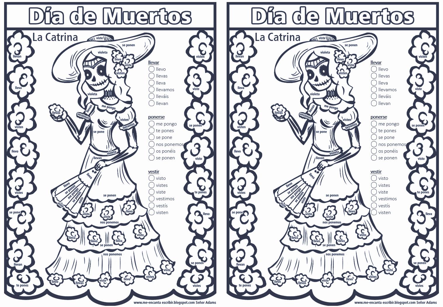 Me Encanta Escribir En Español La Catrina Para Colorear Conjugando