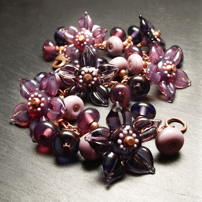 Lampwork glass 'Damson' Garland bracelet by Laura Sparling