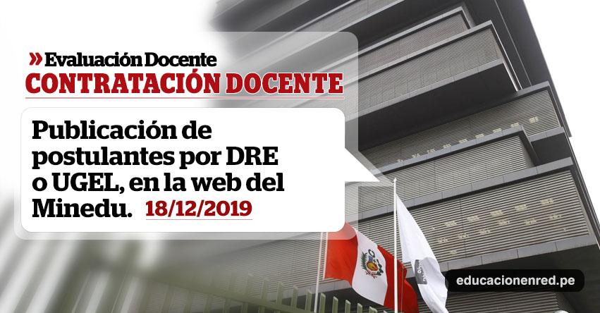 MINEDU: Lista de Postulantes para Contrato Docente 2020 se publicará hoy Miércoles 18 Diciembre (UGEL y DRE) www.minedu.gob.pe