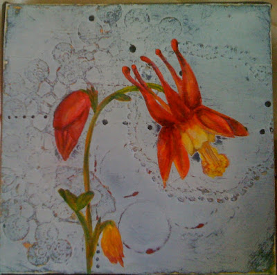 columbine and old lace, 5x5. mixed media painting