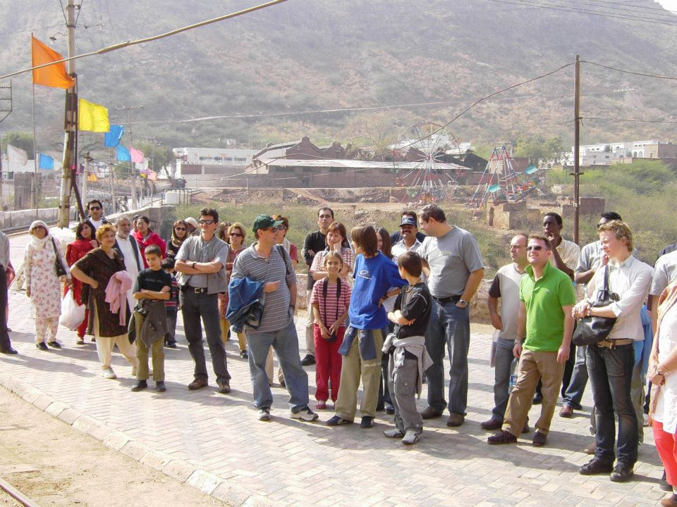 Tourists waiting for a ride on the Mini train, Khewra Salt Mines, Pakistan