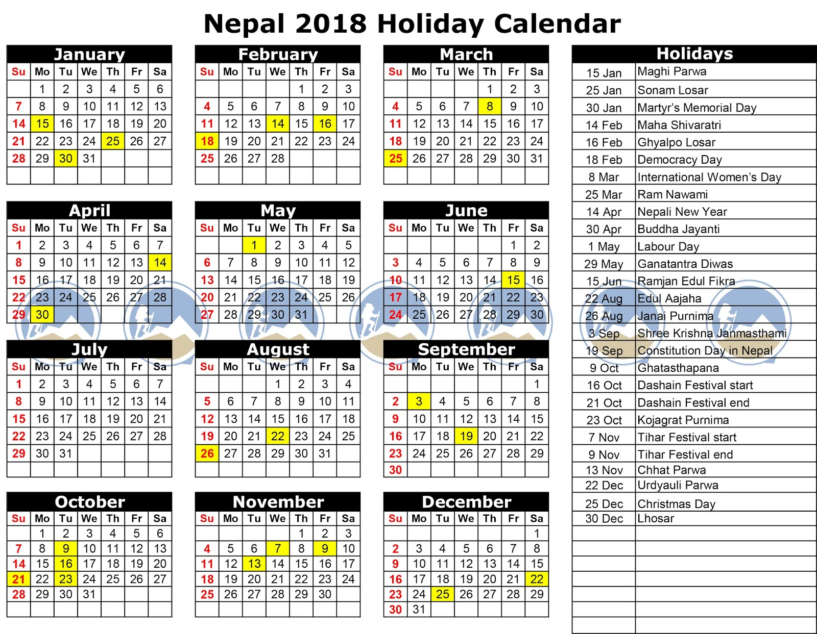 List of Public Holidays in Nepal 2075/2018-2019