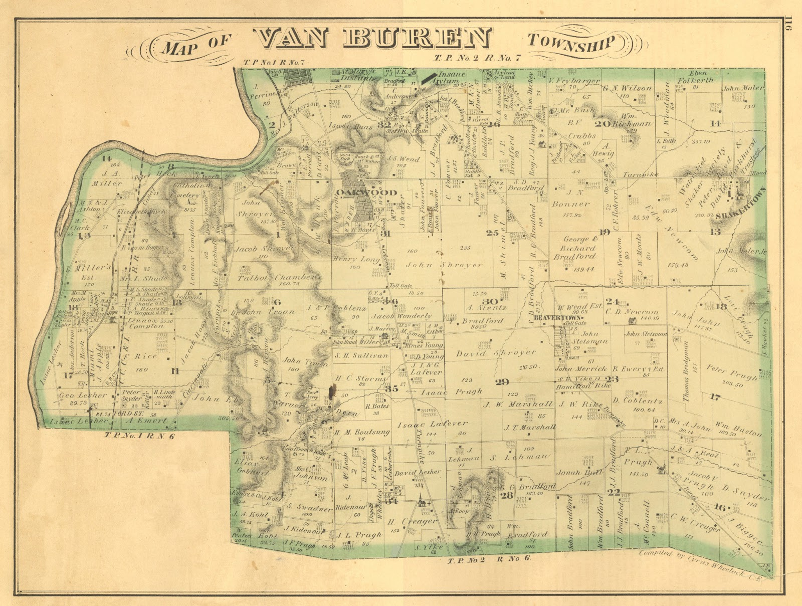 1875 map of van buren township