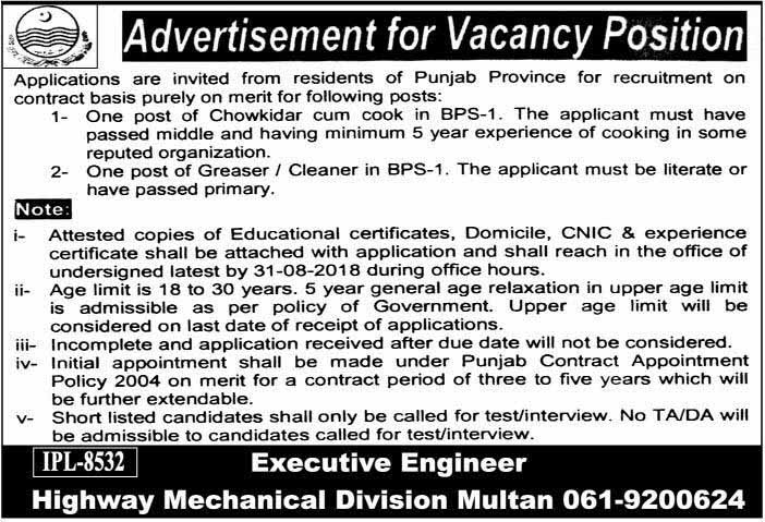 Latest Govt Jobs in Multan Highway Mechanical Division