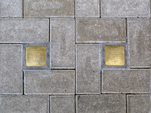 Stolpersteine, stumbling blocks, remembering Dina Bona Attal and Dino Bueno, Livorno