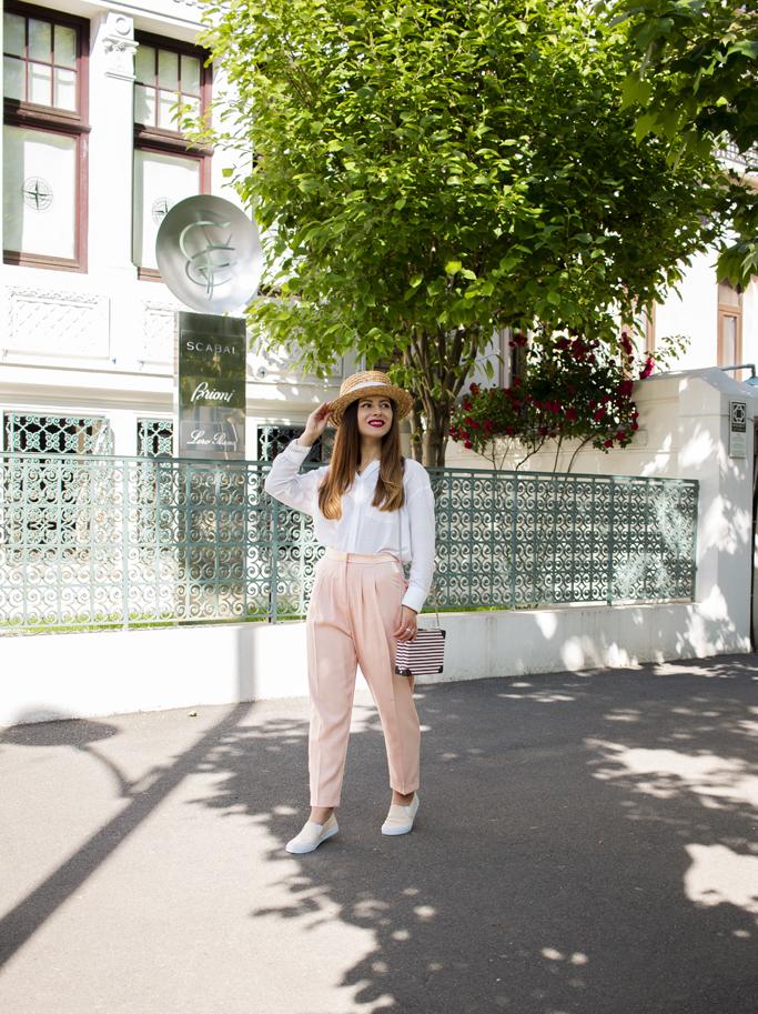 adina nanes white shirt peach trousers