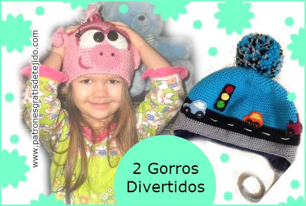 8d77bb15e 2 modelos de gorros divertidos tejidos al crochet | Crochet y Dos ...