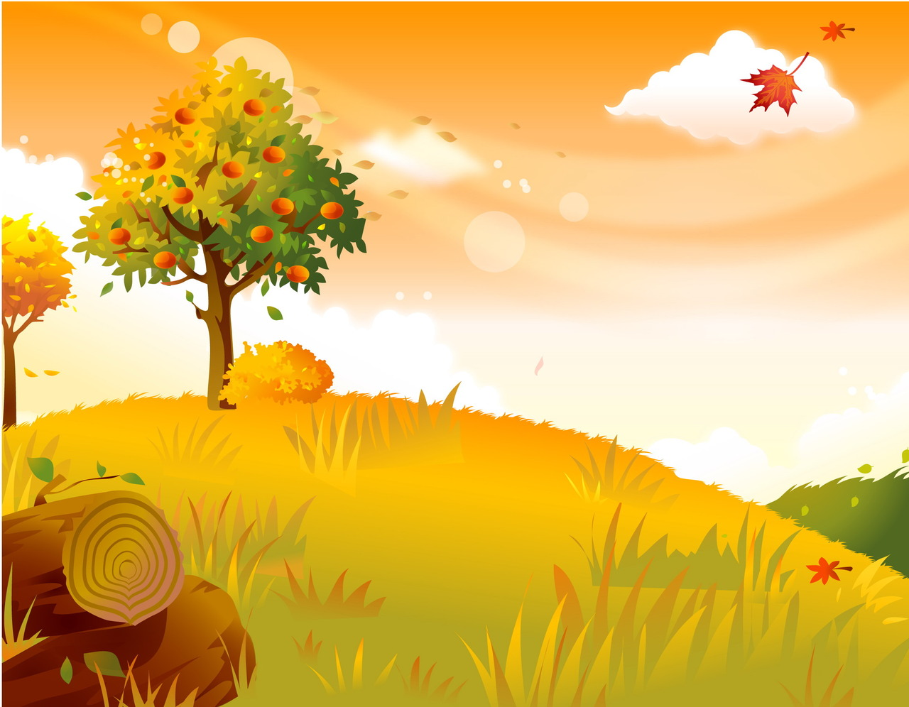 Fall Heart Leaves Background Wallpaper Fall Cartoon Wallpaper Impremedia Net