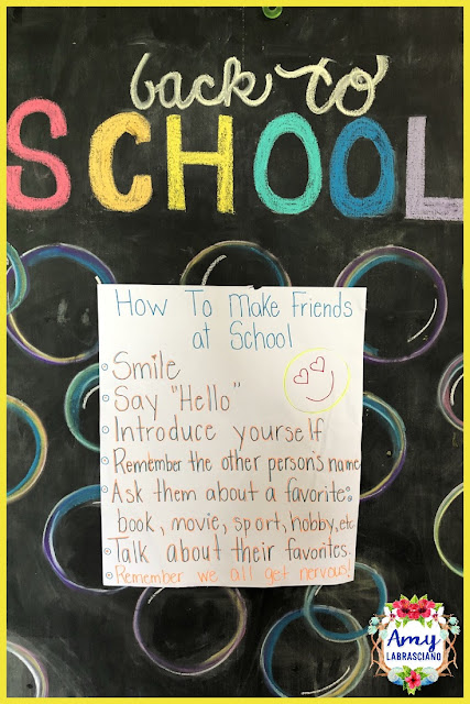 Click here to find ideas for back to school including a lesson on teaching children to make friends.  Included are ideas and  an anchor chart.  Get your back to school plans ready.   Perfect for elementary classrooms and homeschool children.  {kindergarten, first, second, third, fourth, fifth, k, 1st, 2nd, 3rd, 4th and 5th}
