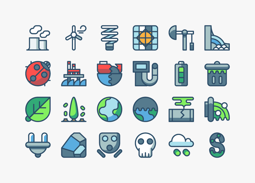 24 Pollution & Energy Icons