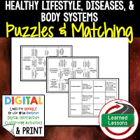 Body Systems, Healthy Lifestyles, Life Science Puzzles, Life Science Digital Puzzles, Life  Science Google Classroom, Vocabulary, Test Prep, Unit Review