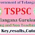 TSPSC Gurukulam TGT,PGT Mains  Answer Keys, HallTickets,ExamDates, Result Selected List 2017 at tspsc.gov.in