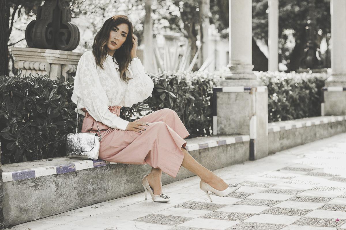 pantalon palazzo rosa