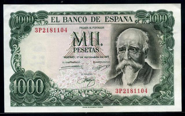Bank of Spain money currency 1000 Pesetas