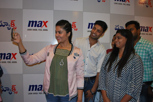 The winners of Max 'Summer Fashionistas contest' meet TV celebrity Sreemukhi in Hyderabad