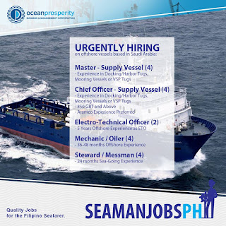 Maritime jobs, marine jobs, seaman jobs for offshore vessels deployment october - november 2018