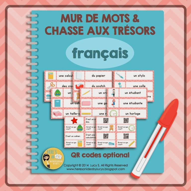 French Classroom Vocabulary Word Wall & Scavenger Hunt