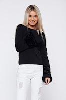 Bluza dama StarShinerS neagra casual cu maneci clopot insertii cu blana ecologica