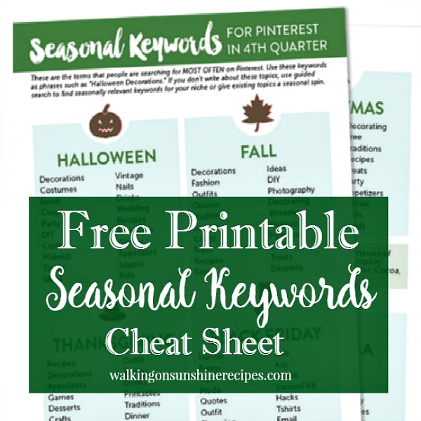 Get your free printable seasonal keywords cheat sheet featured on Walking on Sunshine Recipes.