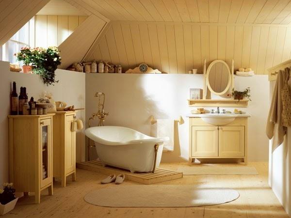 paredes baño rústico
