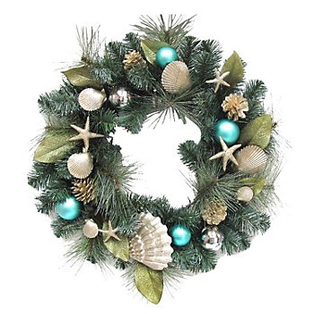 i did find this gorgeous wreath at kohls and knew it was going home with me but i have some other holiday decor faves to share that arent of the beach - Beach Christmas Wreath