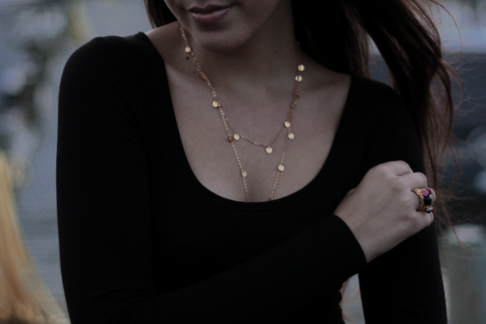 gold disk necklace fashion blog