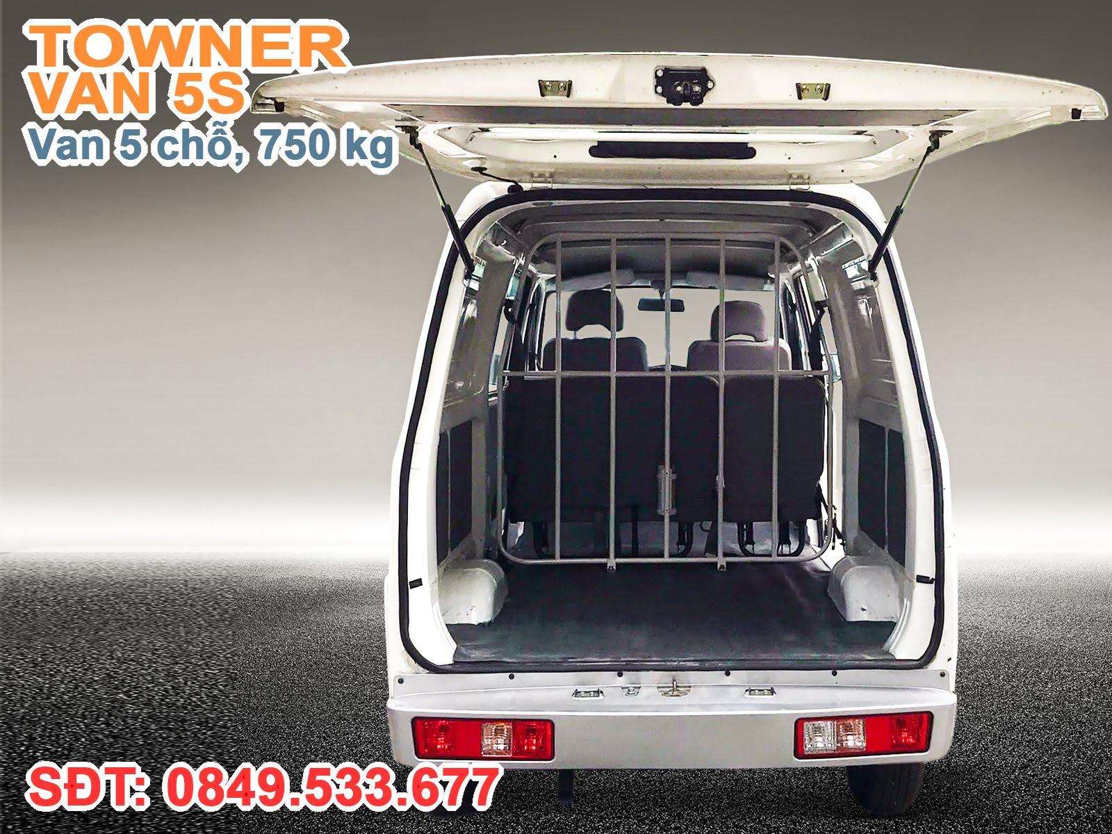 Xe Thaco Towner Van 5S, Cửa sau xe Towner Van được trang bị ty hơi trợ lực, thuận tiện xếp dỡ hàng hóa