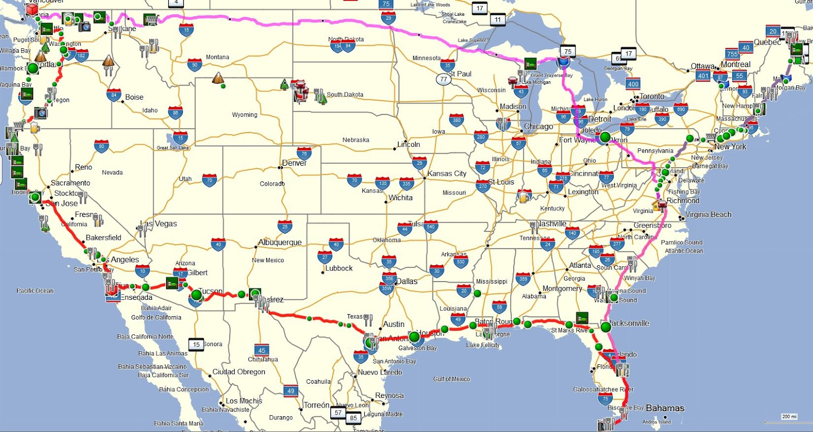 Road route map usa