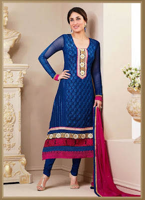 Bollywood Diva And Indian Model Kareena Kapoor In Blue Pure Georgette Churidar Suit.