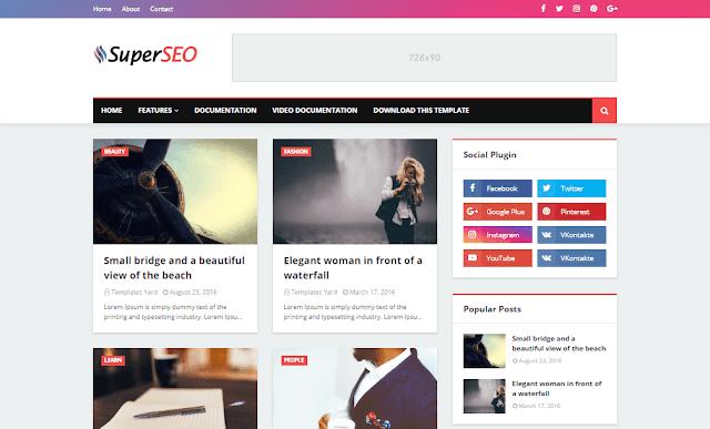 Download Free Premium Super Seo Optimized Blogger Template