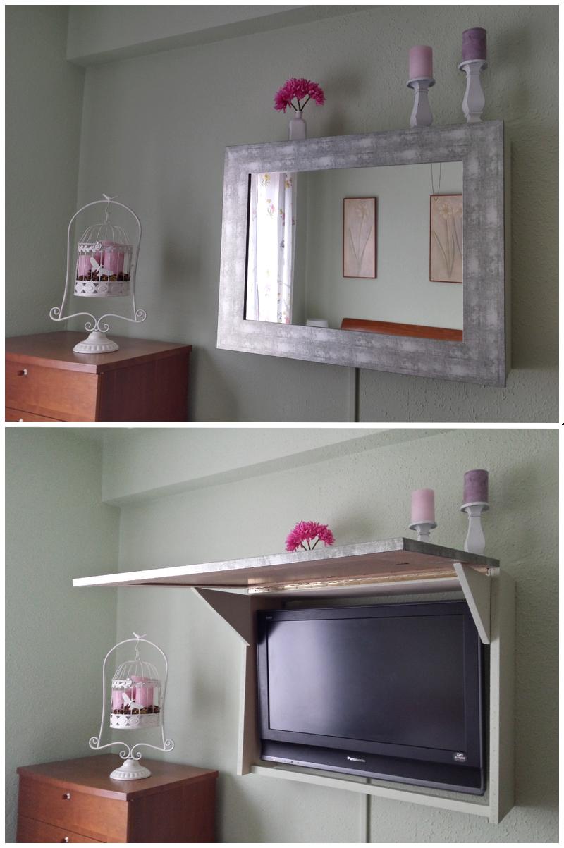 C mo hacer un mueble con espejo para ocultar la televisi n - Armario de la tele antena 3 ...