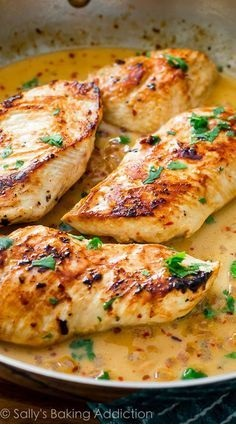 Skillet Chicken With Creamy Cilantro Lime Sauce