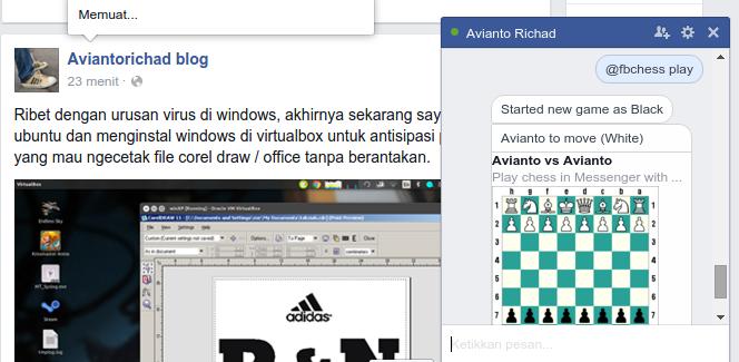 cara memulai bermain catur di facebook messenger
