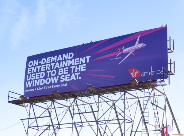 On demand entertainment window Virgin America billboard