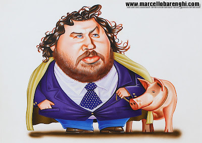 Italian politician, journalist and TV presenter Illustration airbrush colored pencils