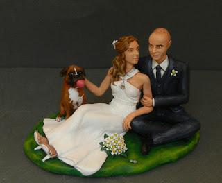 cake topper milano sposini seduti cane boxer bouquet orme magiche