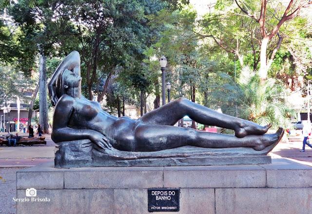 Close-up da Escultura Depois do Banho - Largo do Arouche - Republica - São Paulo