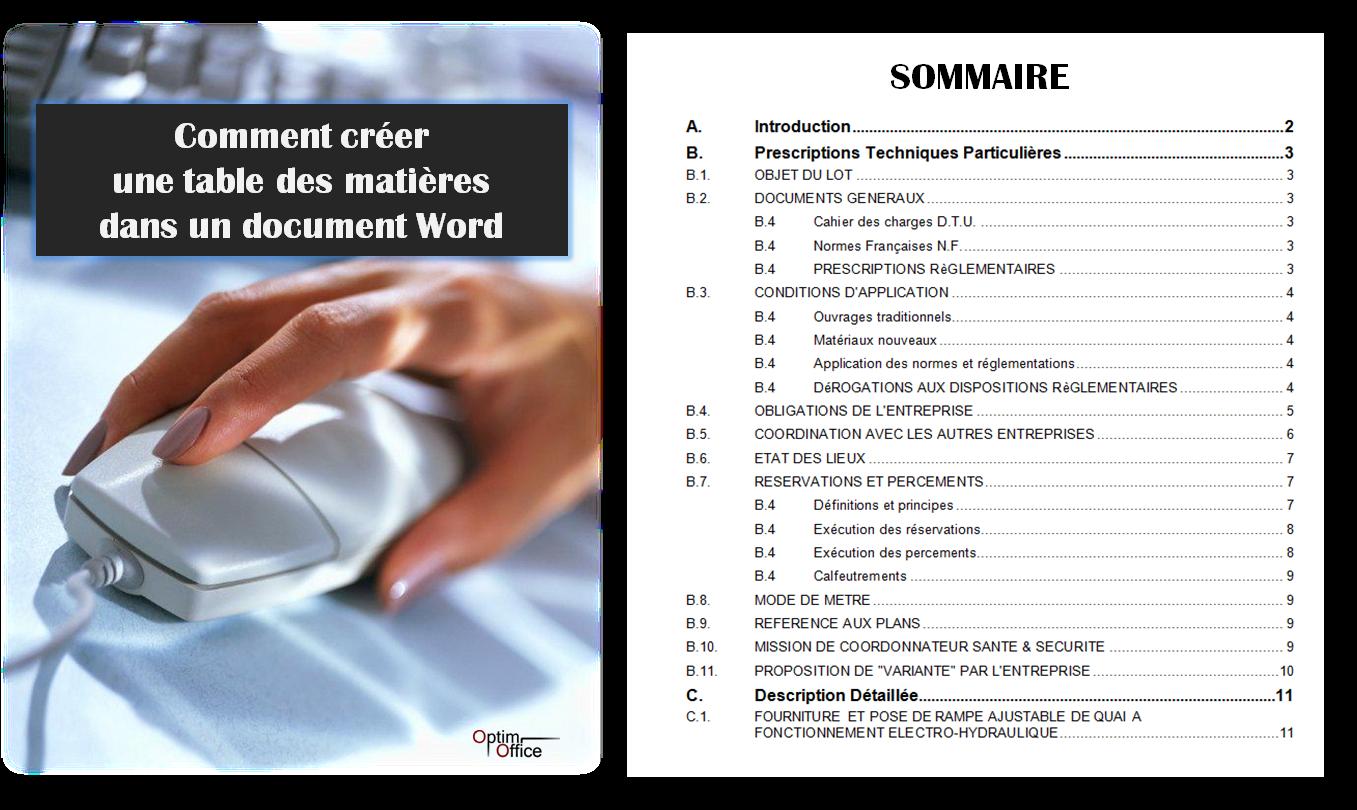 Comment Generer Une Table Des Matieres Dans Un Document Word