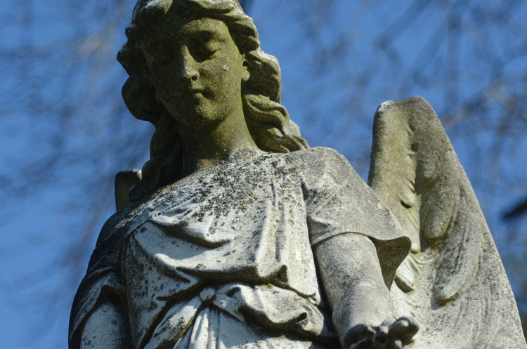 Angel statue at Miami Cemetery near Caesar Creek in Waynesville, OH--where the White-winged Crossbills were.