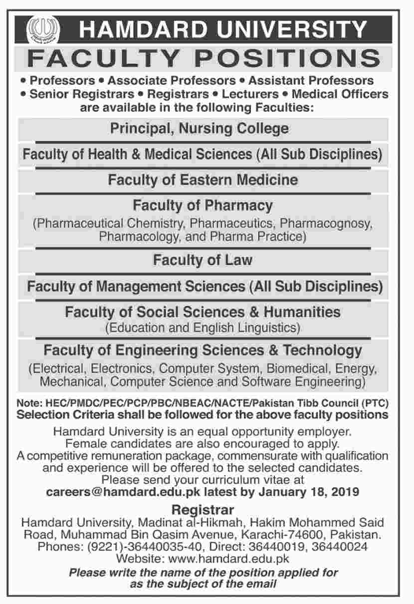 Hamdard University Karachi Jobs Jan 2019, Hamdard University Karachi Jobs
