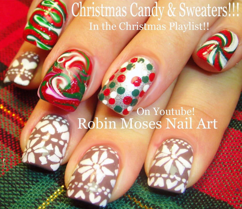 "Christmas Nails Tutorial Youtube: Robin Moses Nail Art: ""christmas Nails"" ""xmas Nails"