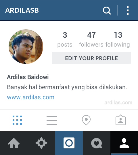 Halaman Profile - Tombol Edit Your Profile - Cara Memprotect / Memprivasi Foto Postingan di Instagram