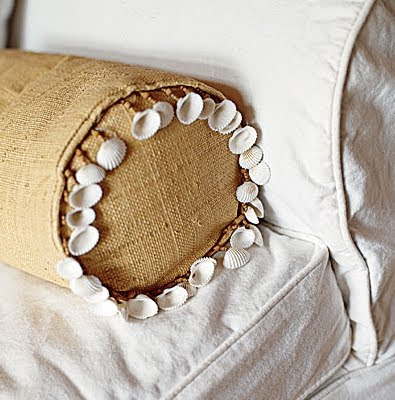 decorate pillow with shells for trim
