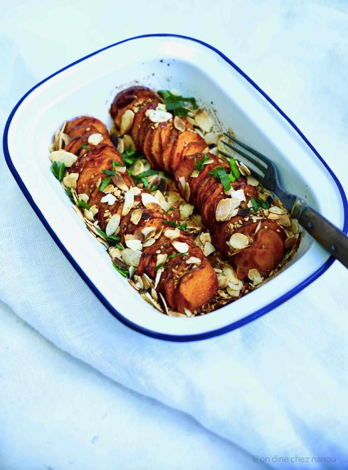 patate douce , sirop d'érable , sucré/salé , dukkah , épices , harissa