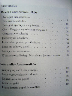 Przygody dzieci z ulicy Awanturników, Astrid Lindgren, książka dla dzieci, spis treści