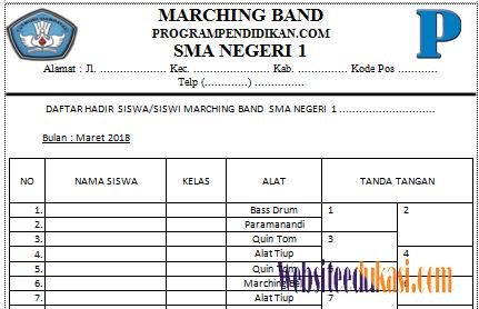Contoh Format Absensi Ekskul Marching Band Tahun 2018