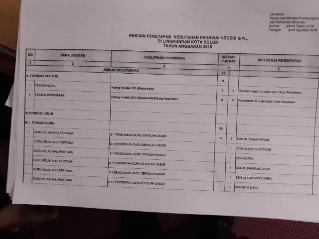 Formasi CPNS Kota Solok Tahun 2018