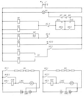 Принципиальная схема стартерного запуска дизель-генератора